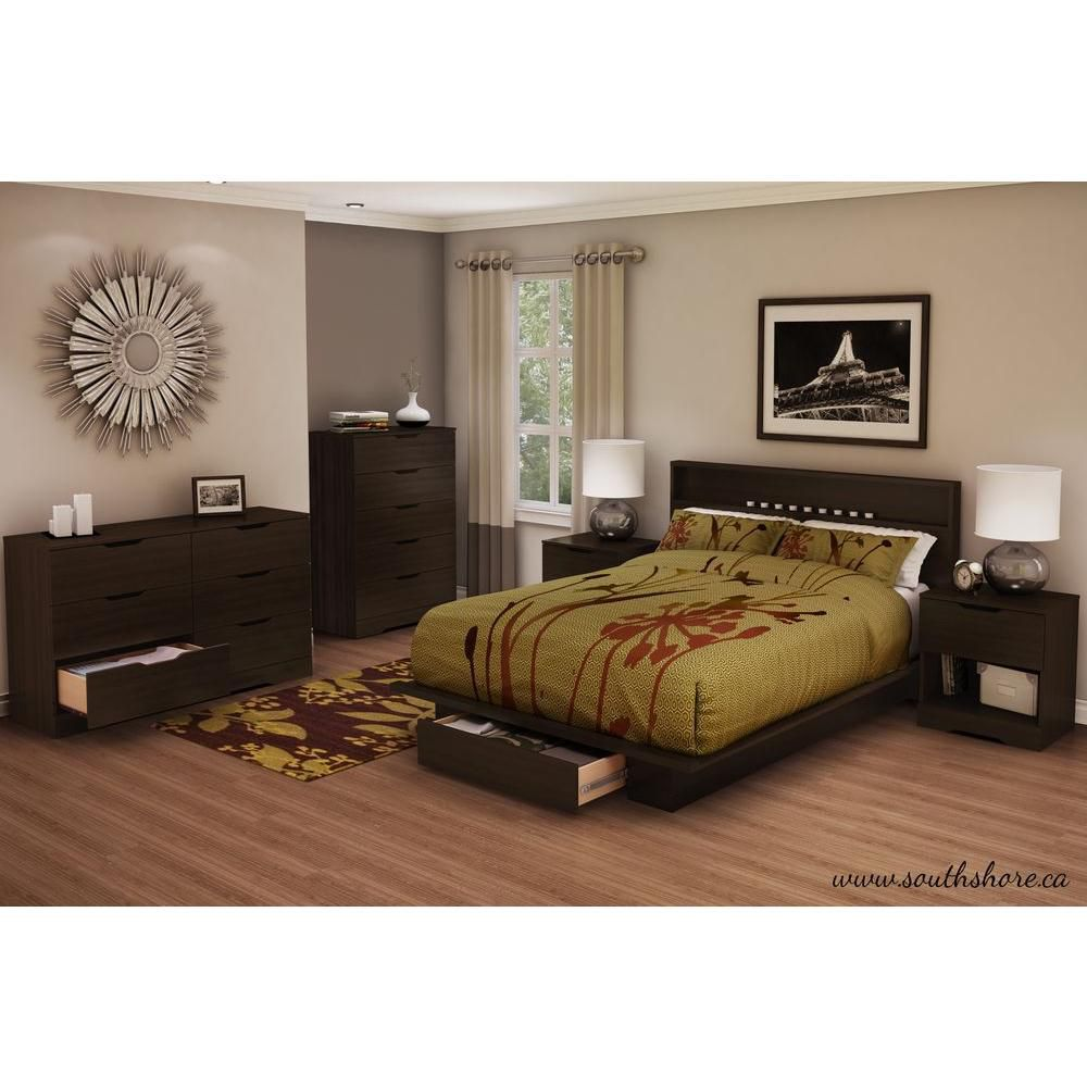 South Shore Holland Full/Queen Platform Bed (54/60 Inch) with drawer, Mocha