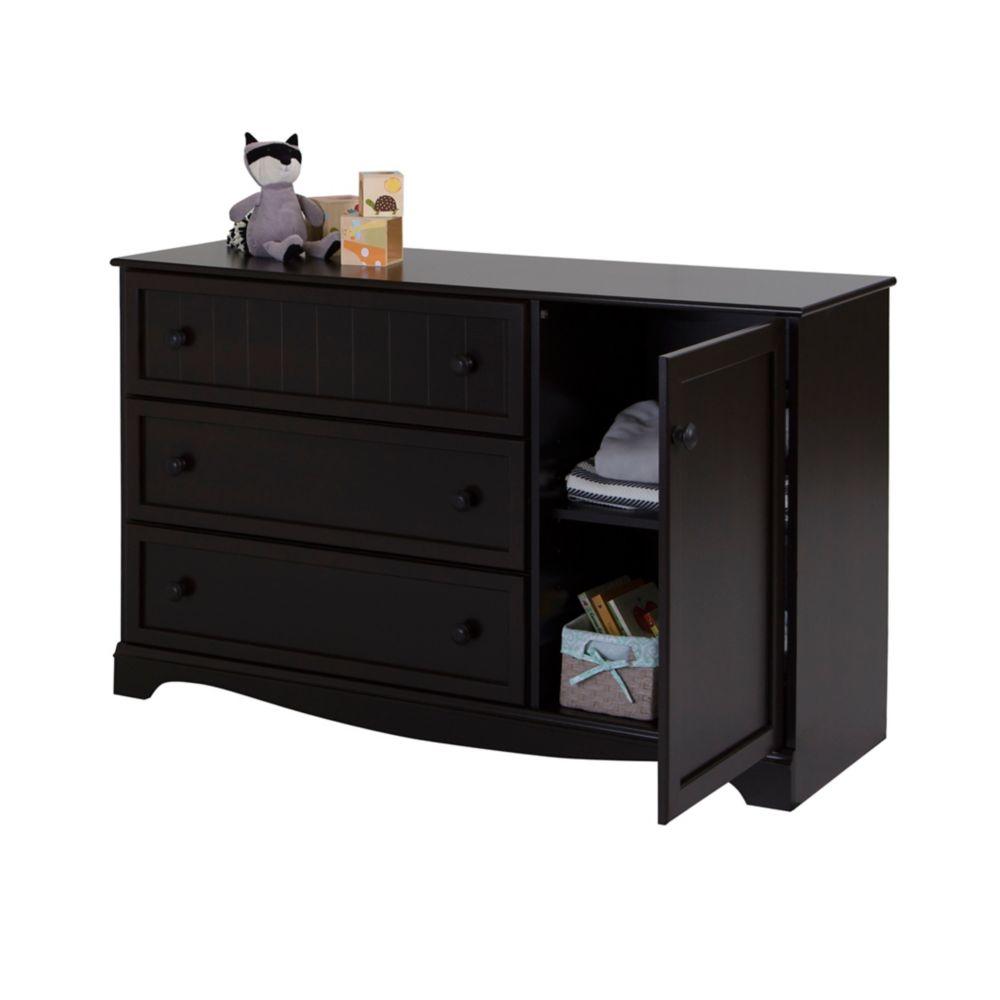 Savannah 3-Drawer Dresser with Door, Espresso