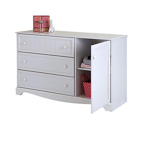 Savannah 3-Drawer Dresser with Door, Pure White