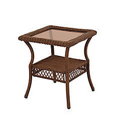 Spring Haven Brown Wicker Square Side Table