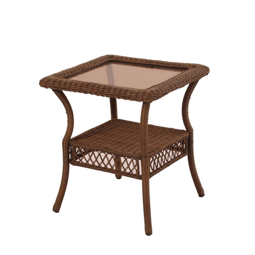 Hampton Bay Spring Haven Brown Wicker Square Side Table