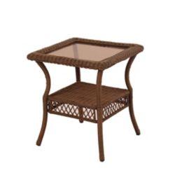 Hampton Bay Spring Haven Brown Wicker Square Side Table