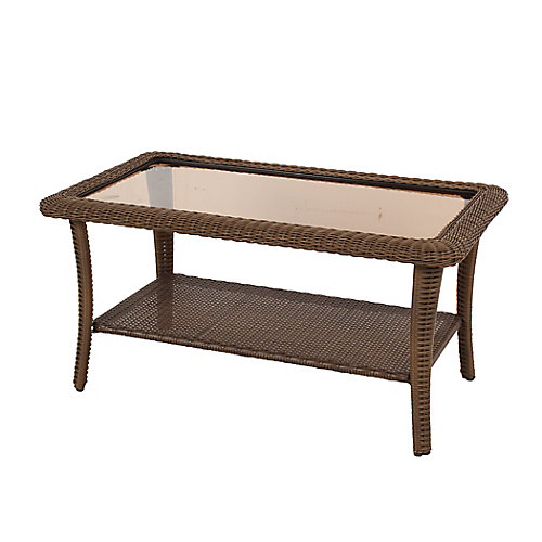 Spring Haven Brown Wicker Large Rect Coffee Table