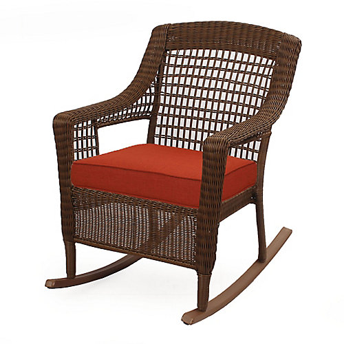 Spring Haven Brown Wicker Rocker w/ Orange Cushion