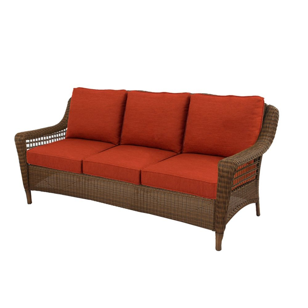 Hampton Bay Spring Haven Patio Sofa in All-Weather Brown Wicker with Orange Cushion
