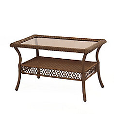 Spring Haven Brown Wicker Rectangular Coffee Table
