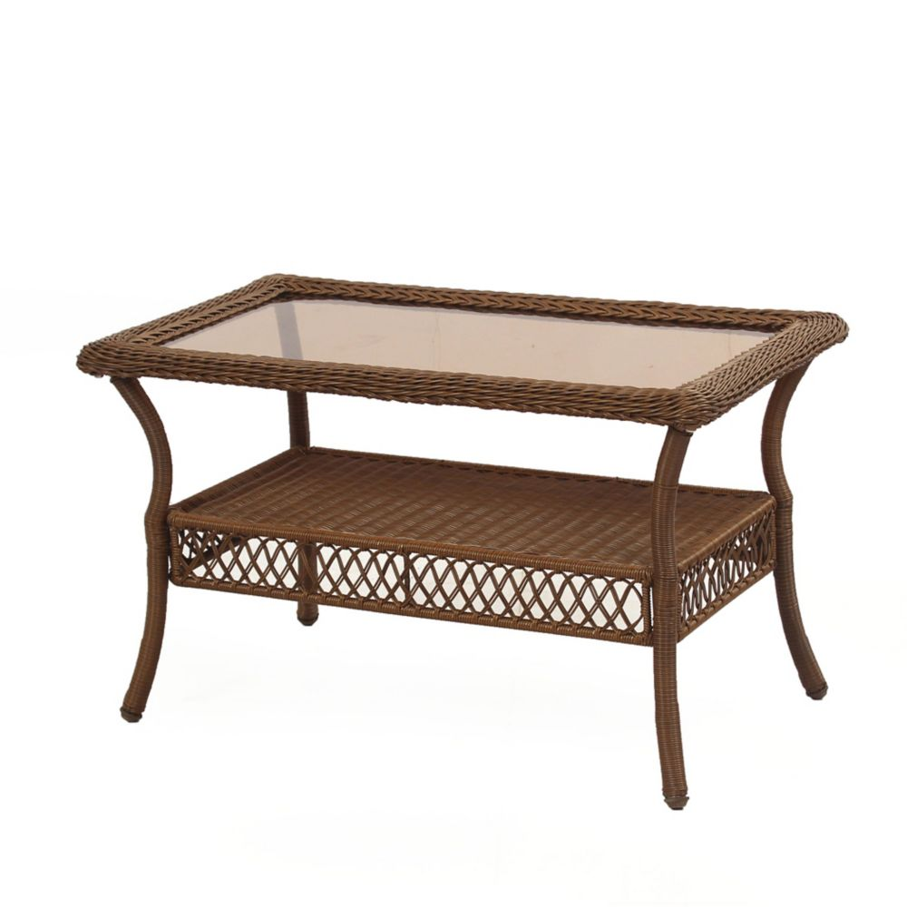 Hampton Bay Spring Haven Brown Wicker Rectangular Coffee Table