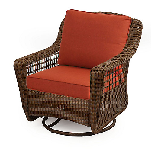 Spring Haven Brown Wicker Swivel Rocker w/ Orange Cushion