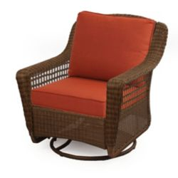 Hampton Bay Spring Haven Brown Wicker Swivel Rocker w/ Orange Cushion