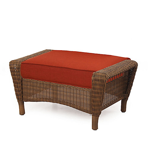 Spring Haven Brown Wicker Ottoman w/ Orange Cushion