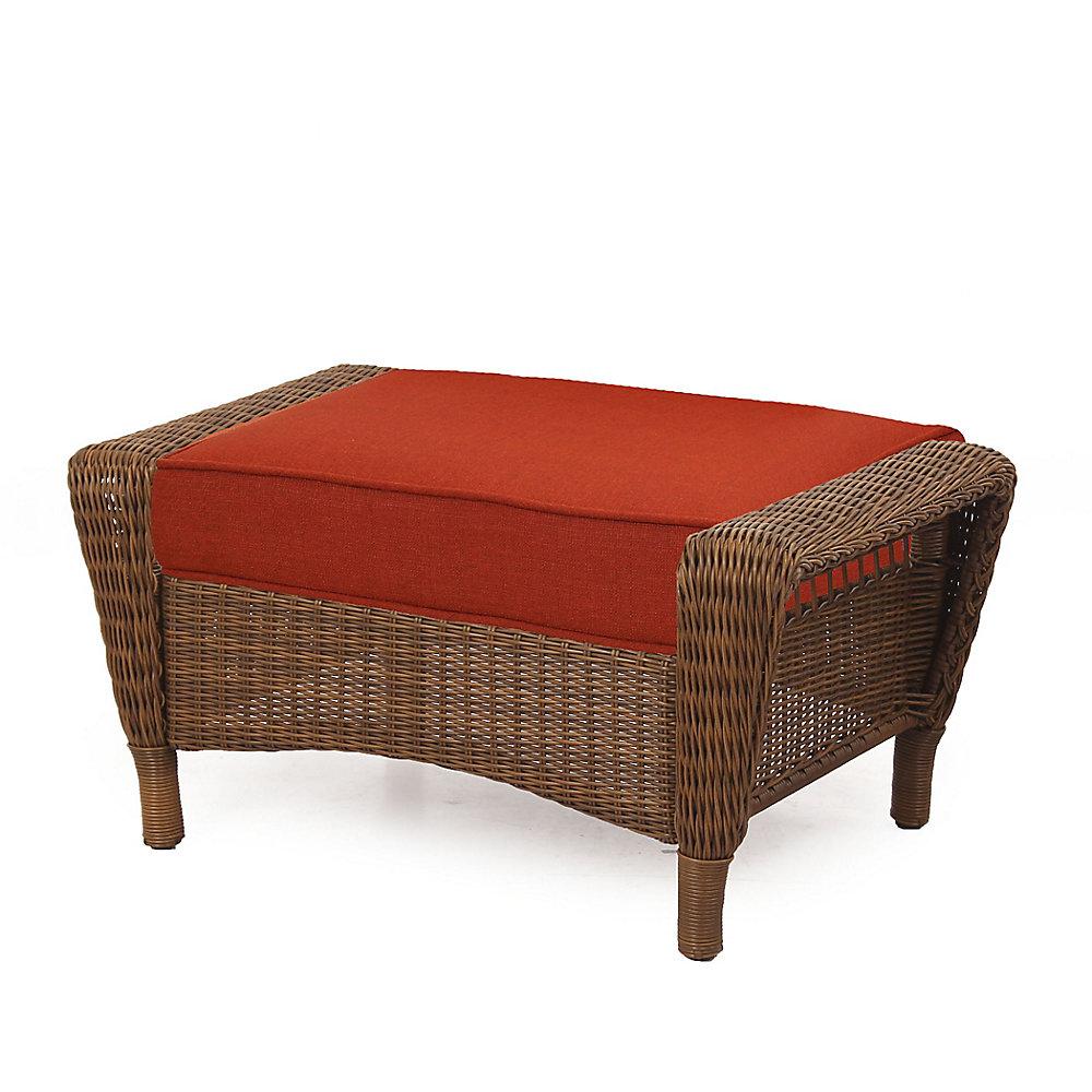 Spring Haven Brown Wicker Ottoman w/ Orange Cushion