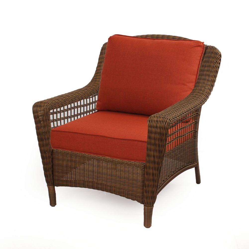 Hampton Bay Spring Haven Brown Wicker Chair w/ Orange Cuhion