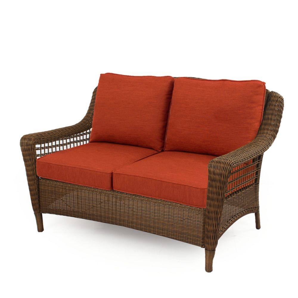 Hampton Bay Spring Haven Brown Wicker Loveseat w/ Orange Cushion