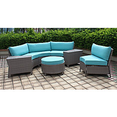 Labriza 7-Piece All-Weather Wicker Round Patio Sectional Set in Grey with Teal Cushions