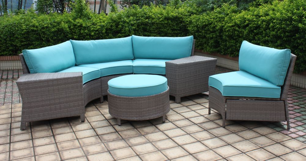 Hampton Bay Labriza 7-Piece All-Weather Wicker Round Patio Sectional Set in Grey with Teal Cushions