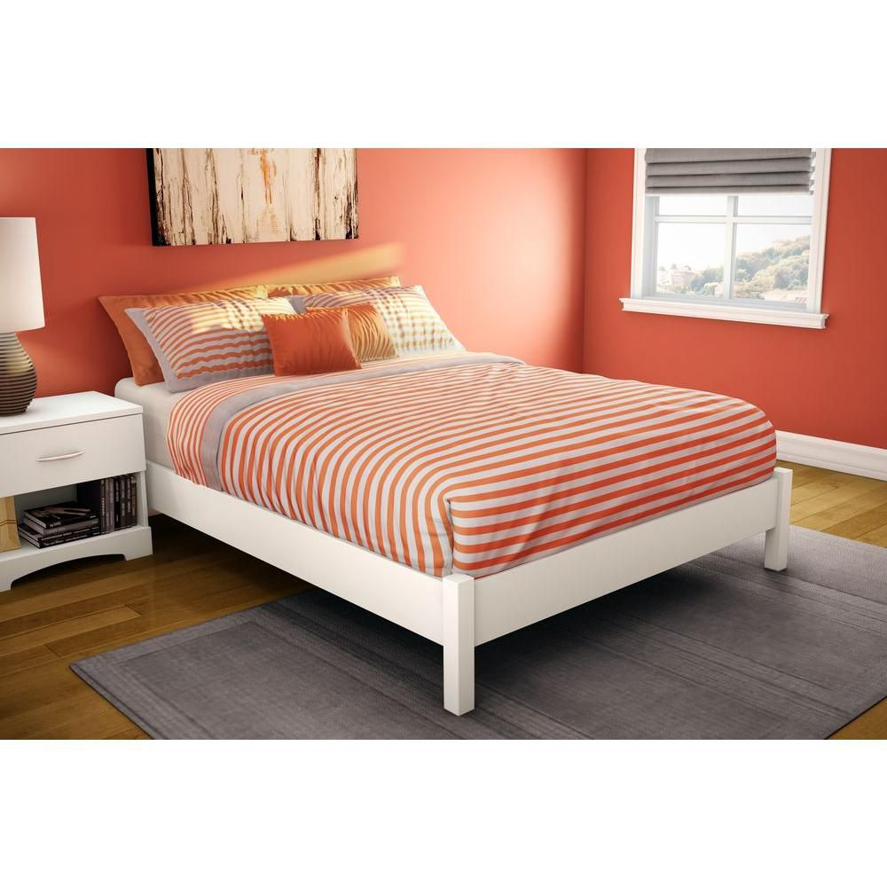 Step One Full Platform Bed (54 inch), Pure White