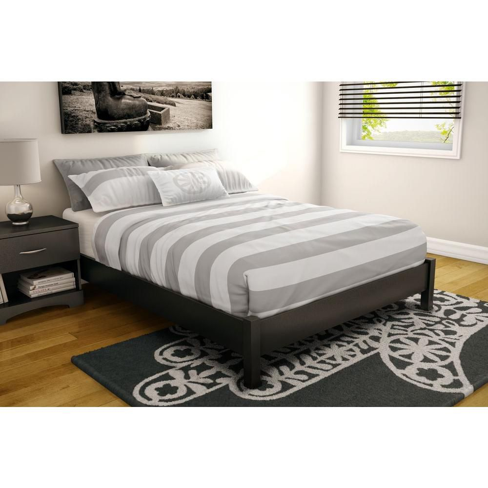 Step One Full Platform Bed (54 Inch), Pure Black
