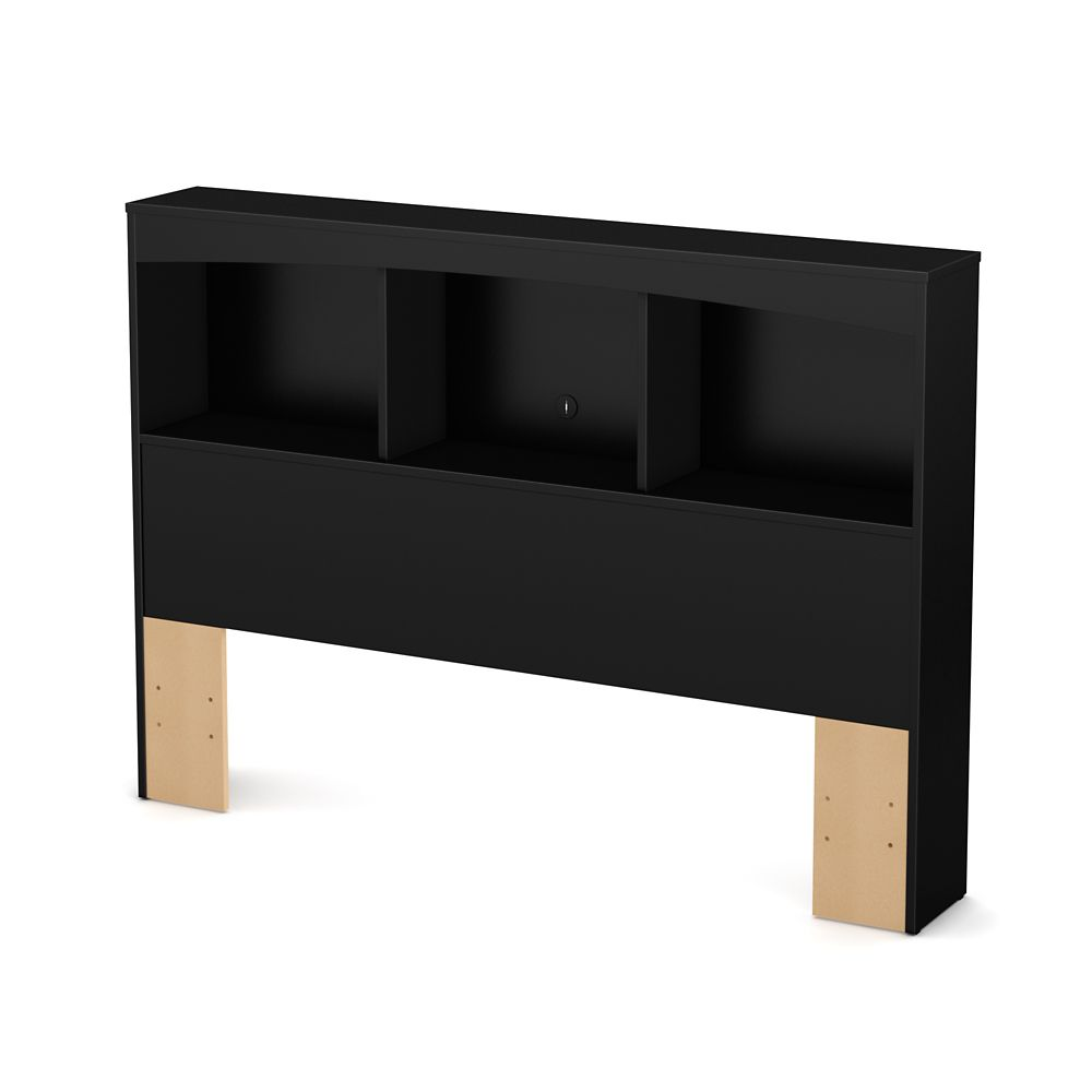 Step One Full Bookcase Headboard (54 Inch), Pure Black