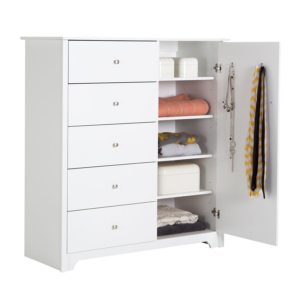 Vito Door Chest with 5 Drawers, Pure White