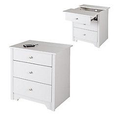 Table de chevet avec tiroirs et station de chargement Vito, Blanc solide