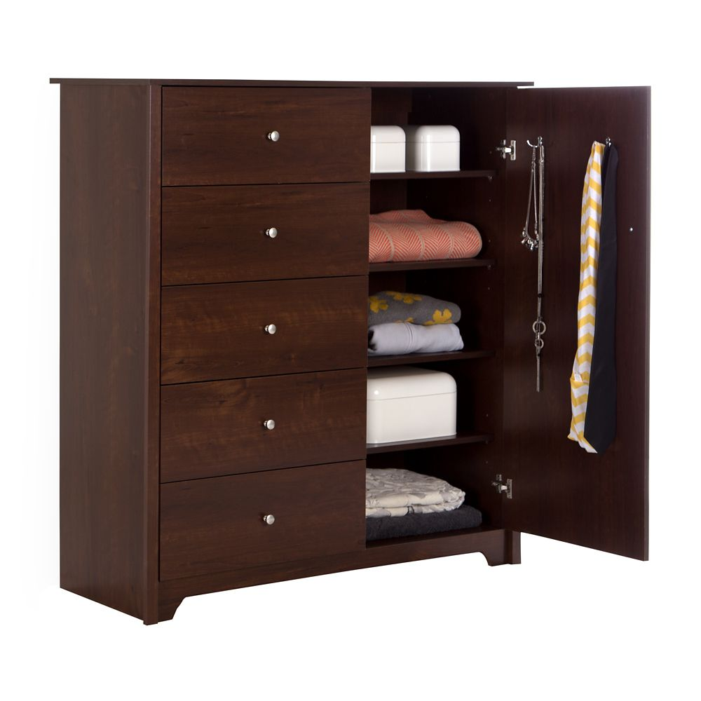 Vito Door Chest with 5 Drawers, Sumptuous Cherry