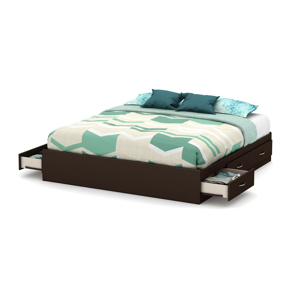 Step One King Platform Bed (78 Inch) with 6 Drawers, Chocolate