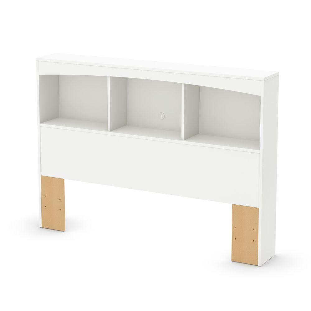 Tête de lit bibliothèque double (54''), Blanc solide, collection Step One