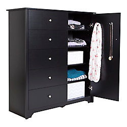 Vito Door Chest with 5 Drawers, Pure Black