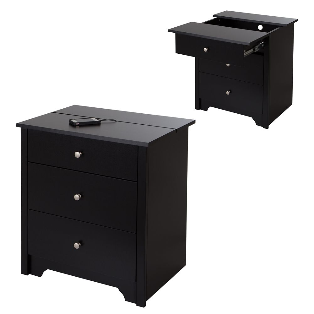 Vito Nightstand with Charging Station and Drawers, Pure Black