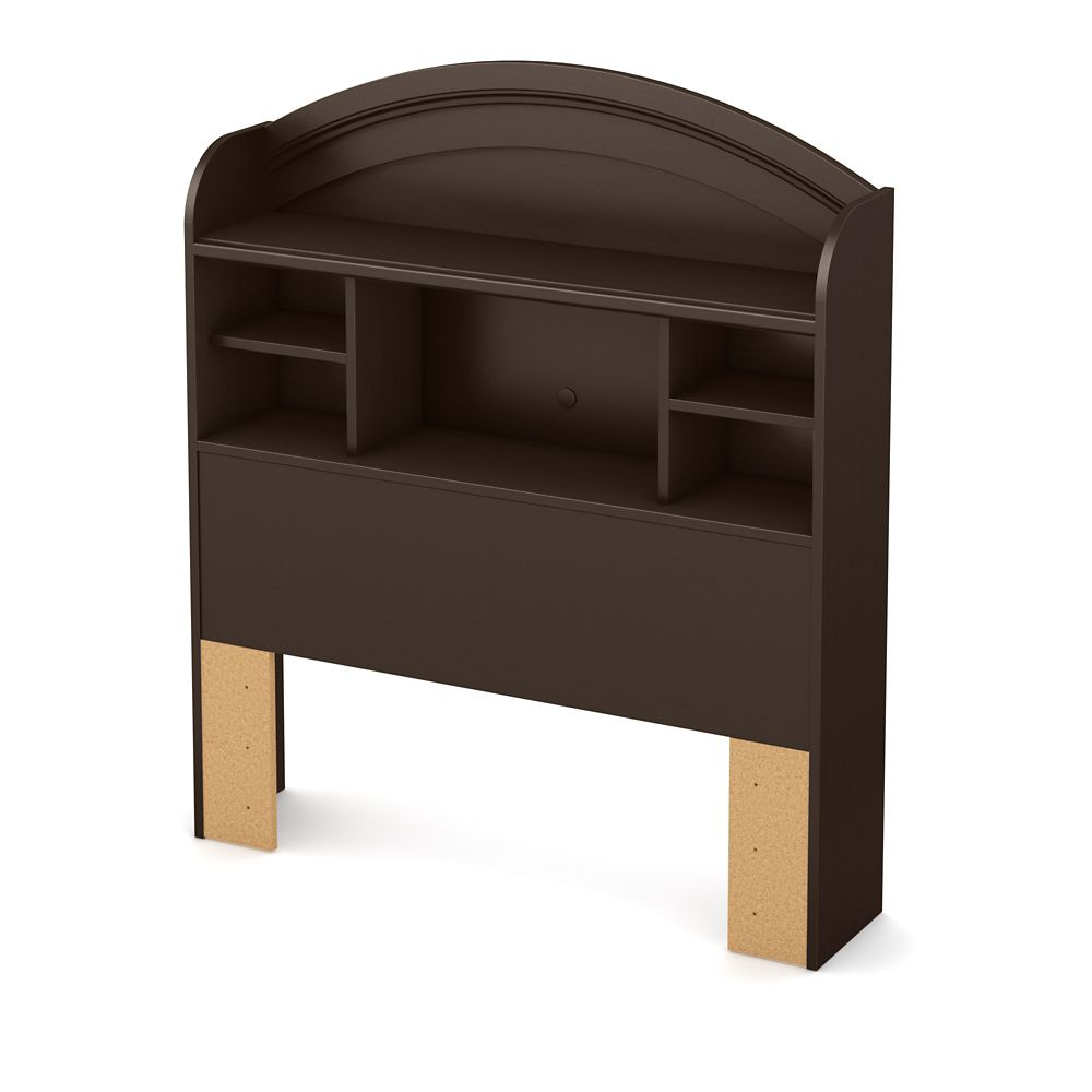 Morning Dew Twin Bookcase Headboard (39 Inch), Chocolate