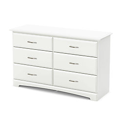 Bureau double 6 tiroirs, Blanc solide, collection Callesto