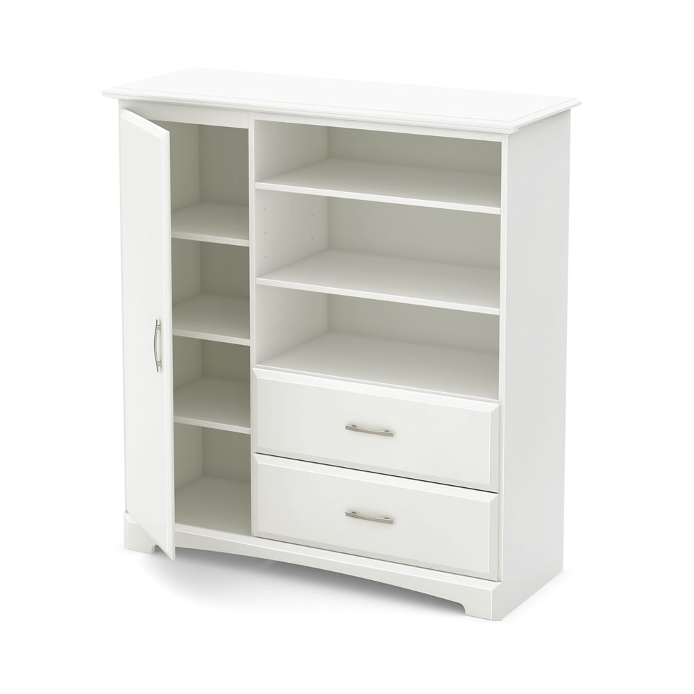 Callesto Armoire with Drawers, Pure White