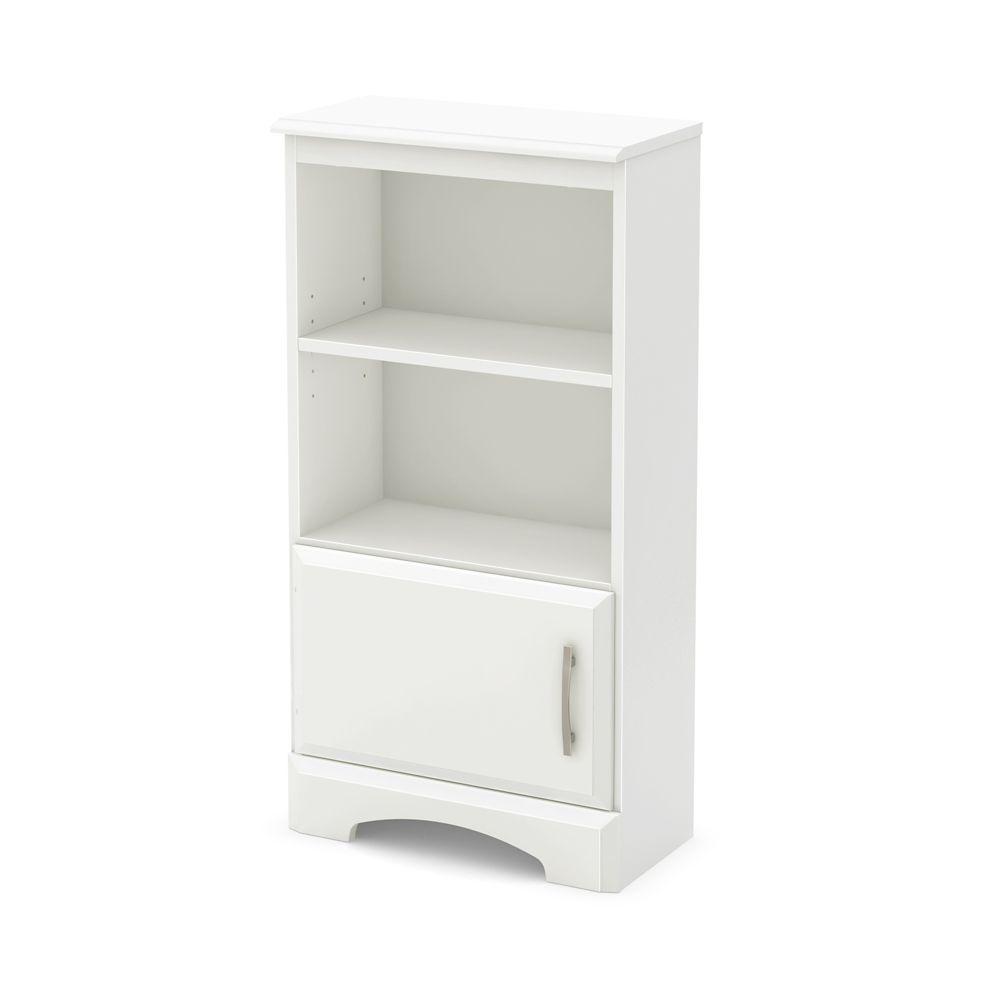 Table de chevet bibliothèque, Blanc solide, collection Callesto