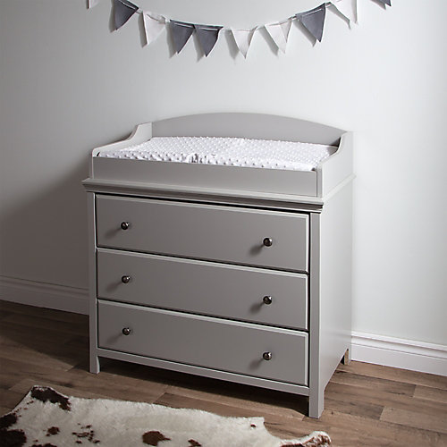 Cotton Candy Changing Table with Drawers, Soft Gray