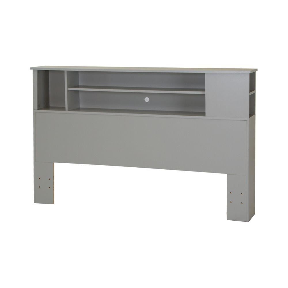 Vito Full/Queen Bookcase Headboard (54/60 Inch), Soft Gray