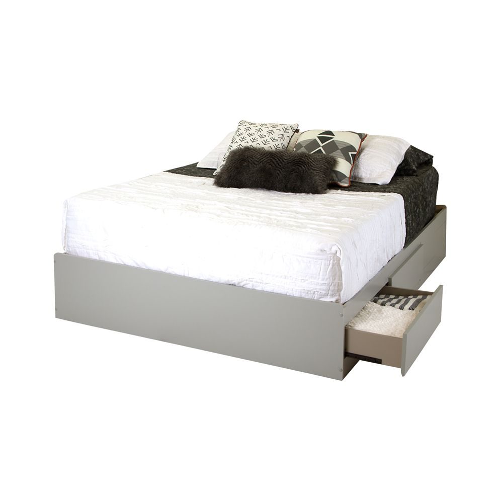 Vito Queen Mates Bed (60 Inch) with 2 Drawers, Soft Gray
