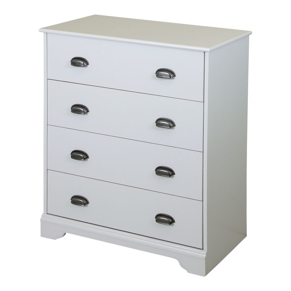 Commode 4 tiroirs, Blanc solide, collection Fundy Tide