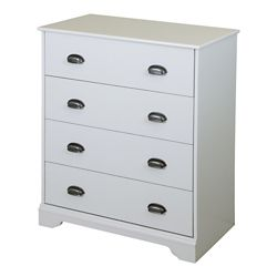 South Shore Commode 4 tiroirs, Blanc solide, collection Fundy Tide