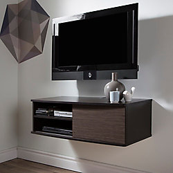 Agora 38 Inch Wide Wall Mounted Media Console, Chocolate and Zebrano