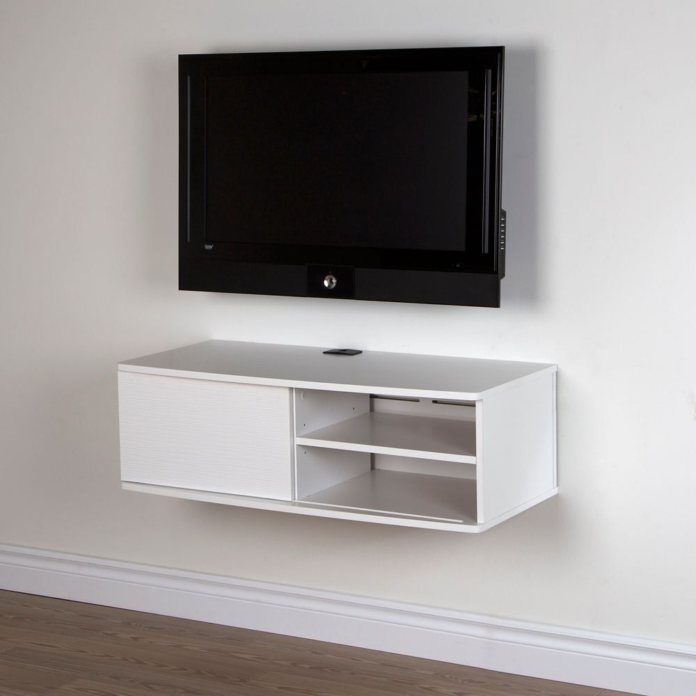 Agora 38 Inch Wide Wall Mounted Media Console, Pure White