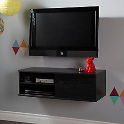 Agora 38 Inch Wide Wall Mounted Media Console, Black Oak