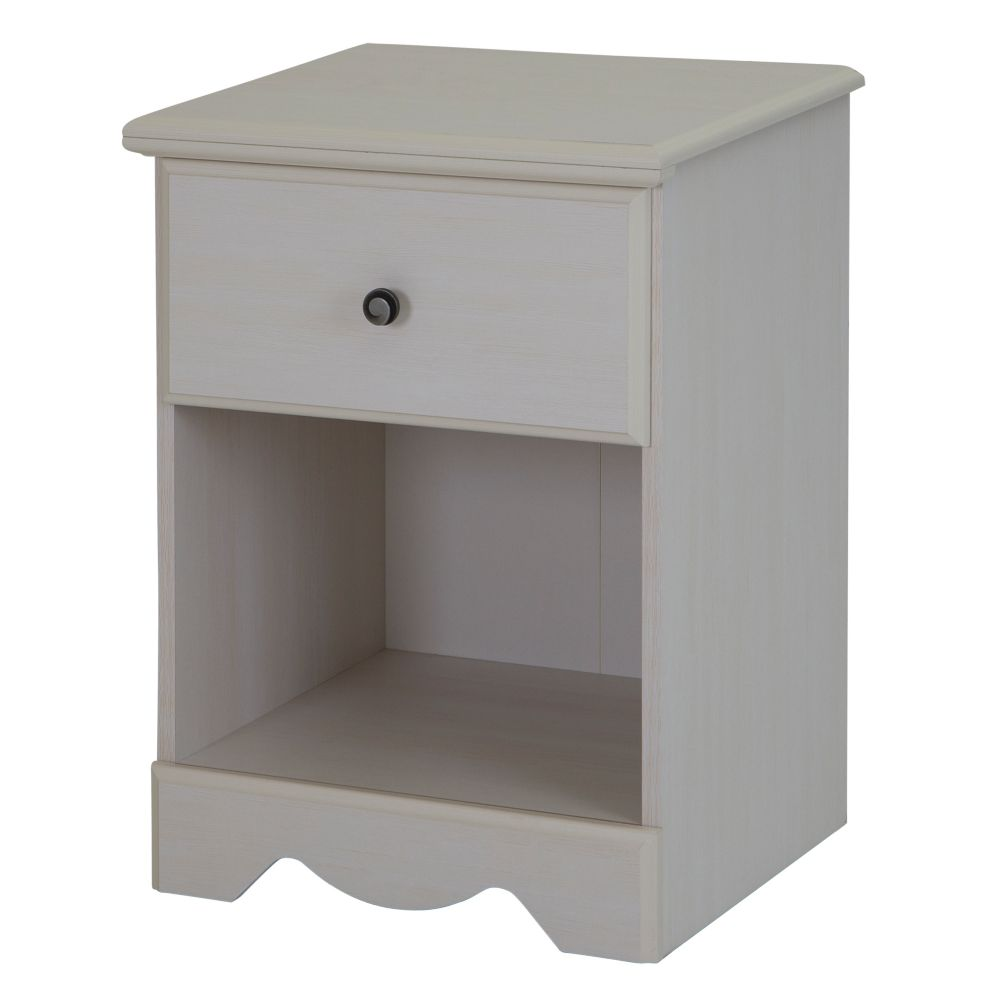 Country Poetry 1-Drawer Night Stand, White Wash