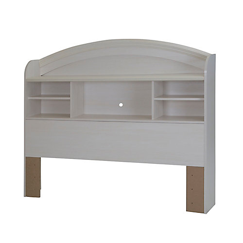 Country Poetry Full Bookcase Headboard (54 Inch), White Wash