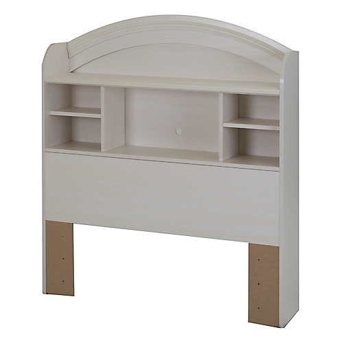 Country Poetry Twin Bookcase Headboard (39 Inch), White Wash