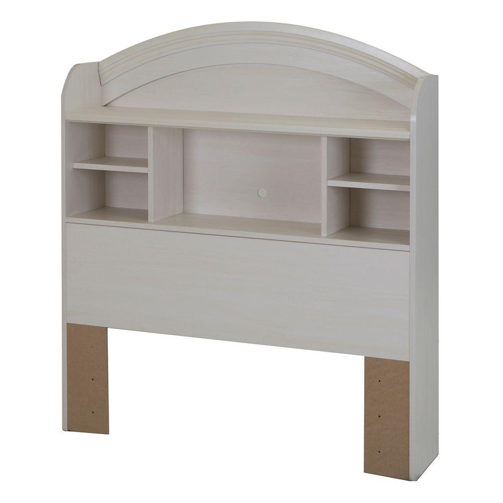Tête de lit bibliothèque simple (39''), Blanc antique, collection Country Poetry