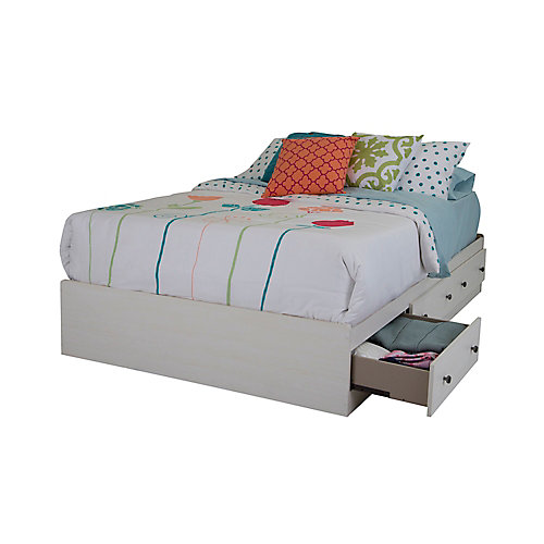 Country Poetry Full Mates Bed (54 Inch) with 3 Drawers, White Wash