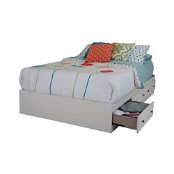 South Shore Country Poetry Full Mates Bed (54 Inch) with 3 Drawers, White Wash