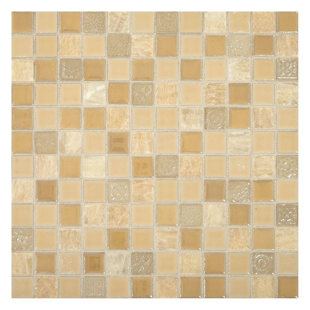 Regent Square 12-inch x 12-inch x 8 mm Ceramic Mosaic Tile in Honey Blend (10 sq. ft./case)