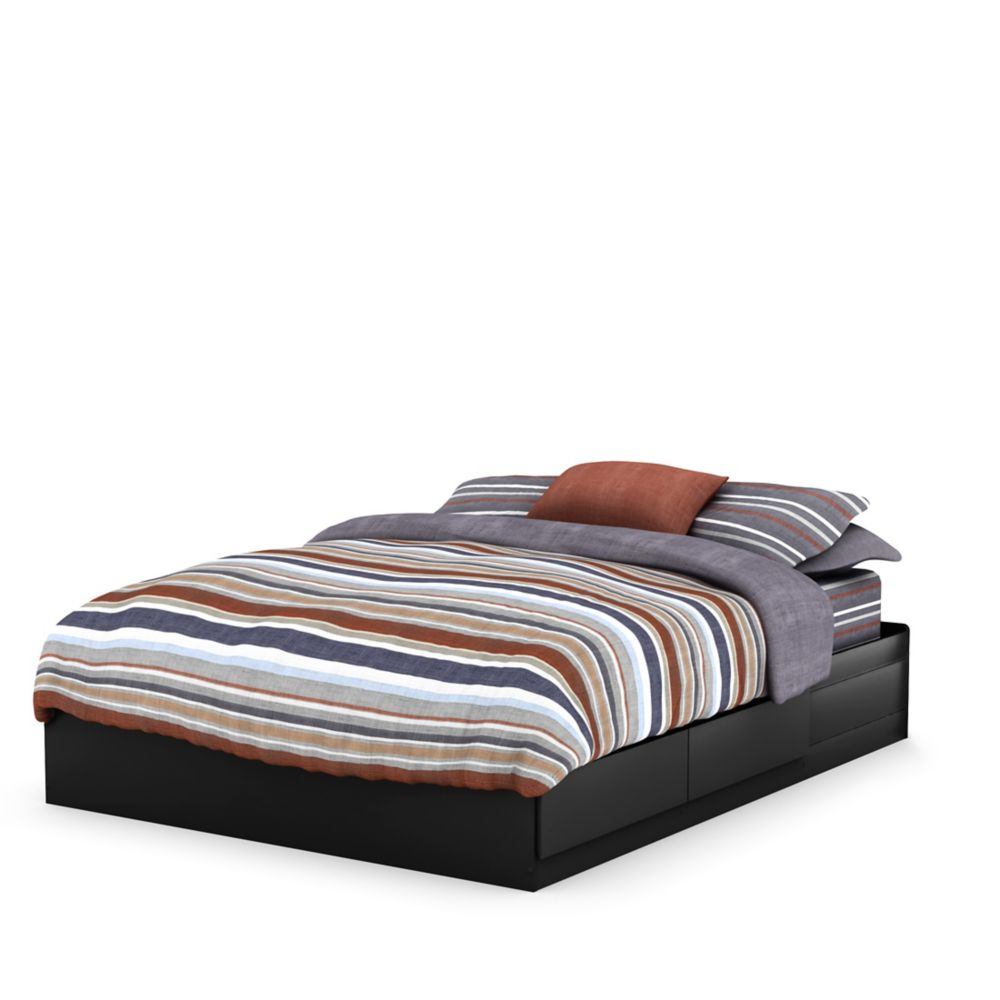 South Shore Fusion Queen Mates Bed (60 Inch), Pure Black