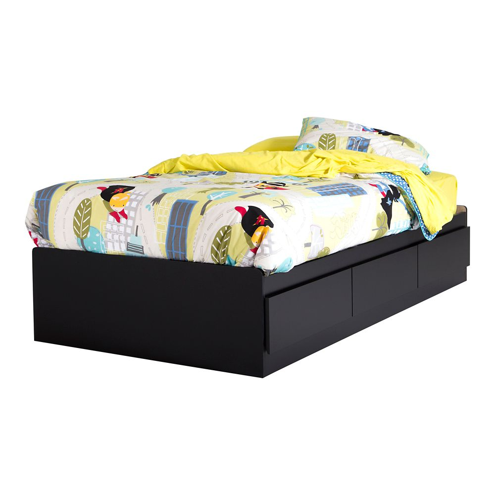 Fusion Twin Mates Bed (39 Inch) with 3 Drawers, Pure Black